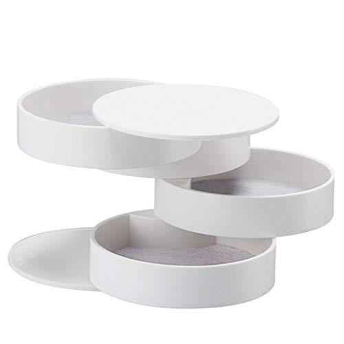 Yousiju Caja de Almacenamiento Nuevo diseño Moda Bandeja de Almacenamiento de Accesorios de joyería giratoria de 4 Capas con Tapa Regalo de cumpleaños (Color : White)