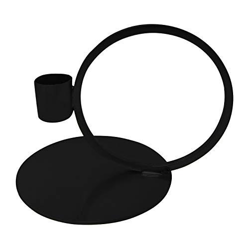 LaLe Living Kerzenhalter Geo aus Eisen in matt Schwarz, 14x10cm, geeignet für eine Stabkerze als Dekoration auf jedem Couchtisch, Schreibtisch, Fensterbank oder als scandic Weihnachtsdeko (Schwarz)