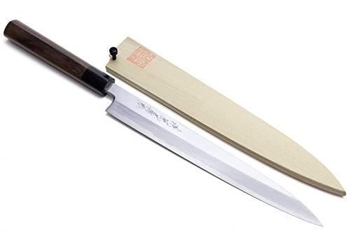 Yoshihiro Shiroko haute en acier au carbone Kasumi Yanagi Shitan Poignée Sushi Sashimi Couteau de chef 24,1cm (240mm)