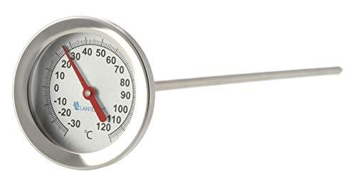 Lantelme Termómetro para compostaje de acero inoxidable de -30 hasta +120 grados, sonda de 30 cm, para compostador, jardín, compostador, termómetro analógico 8208