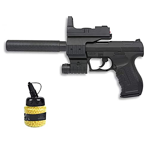 Pistola P998 táctica (Muelle) | Pistola de Airsoft (Bolas de plástico 6mm) Tipo Walther + biberón de munición