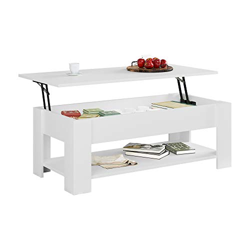 """HOME BI Lift Top Coffee Table with Hidden Storage Compartment and Bottom Open Shelf, Modern Versatile Lift Up Coffee Dining Table for Living Room, Sofa Tea Table for Reception Room (41"""", White)"""
