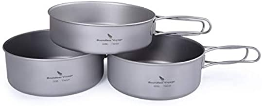 Boundless Voyage 3-Piece Set Titanium Pot Set Camping Cooking Pan with Folding-Handle Outdoor Camp Cookware Pot Sets Ti1577B