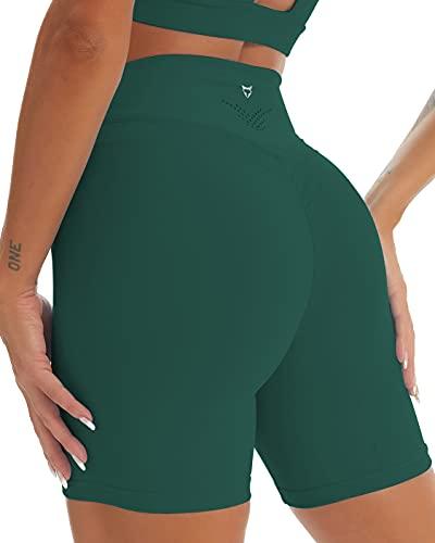 TomTiger Yoga Shorts for Women Tummy Control High Waist Biker Shorts Exercise Workout Butt Lifting Tights Women's Short Pants (Green, L, l)