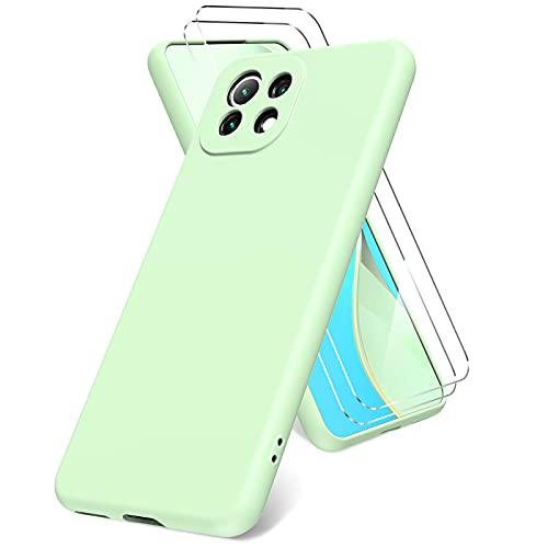 Vansdon Cover per Xiaomi Mi 11 Lite 5G, 2 Pellicola Protettiva in Vetro Temperato, Gomma Gel di Silicone Liquida Antiurto Custodia - Verde Erba