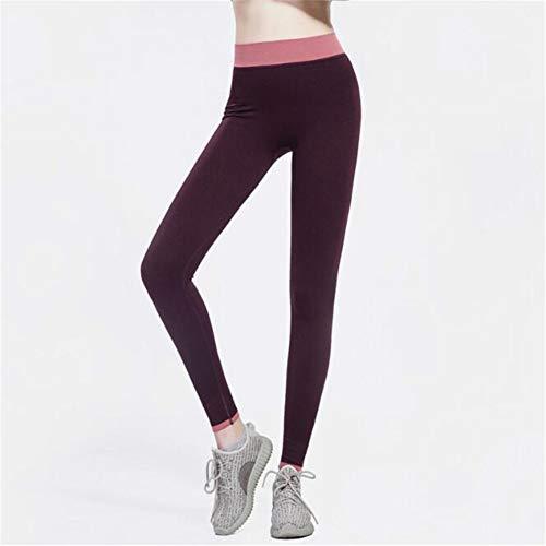 Leoie Yoga ejercicio Bodybuilding Mujeres Sexy Elástico Yoga Pantalones Deportivos Fuerza de Absorción Ejercicio Rápido Leggins Rojo Vino L