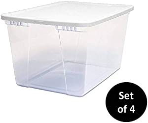 HOMZ Snaplock Clear Storage Bin with Lid, X Large-56 Quart (Set of 4), White, 4 Sets