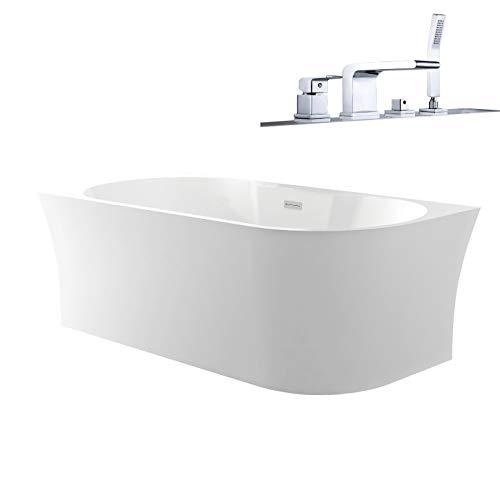 Badewanne NOVA CORNER PLUS Acryl weiß - Einbau links - Ohne Siphon, Mit Vormontage, Mit Wannenarmatur 6080 Chrom