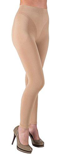 CzSalus Figurformende Anti-Cellulite Lange Hose (Leggings) mit Massageeffekt - natürliche Farbe Größe XXL