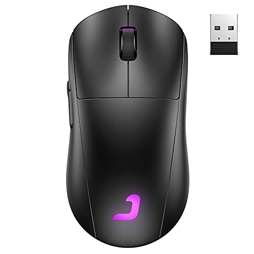 Wireless Gaming Mouse, Jelly Comb Dual Mode(Wired and 2.4G Wireless) RGB Backlit Mice,Up to 10,000 DPI Optical Sensor,for PC Computer Laptop Gaming Players (Black) GM01