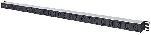 Intellinet 163644 24-fach Steckdosenleiste C13-Kaltgerätesteckdosen vertikale Rackmontage (PDU mit abnehmbarem Stromkabel 2m Netzschalter und rückseitigem C14-Stromeingang) schwarz/silber