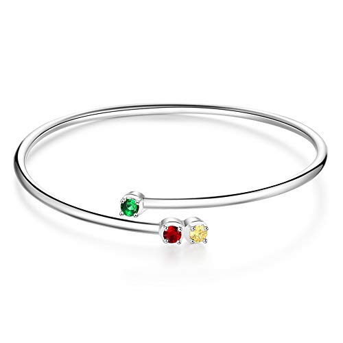 Personalised 3 Simulated Birthstone Charm Bracelet for Mum Grandma Cubic Zirconia Crystal Adjustable Bangle Customised Christmas Birthday Gift for Girl Sister BFF Wife Silver Rhodium Plated