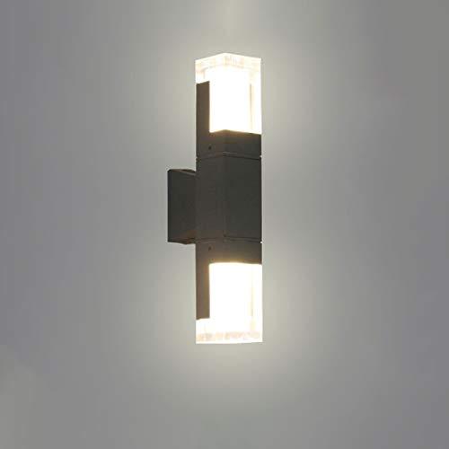Led-wandlamp, boven en beneden, wandlamp, buitenlamp, LED, warm wit, ter decoratie van acryl, hoge helderheid, buitenlamp, IP65, voor nachtlampje