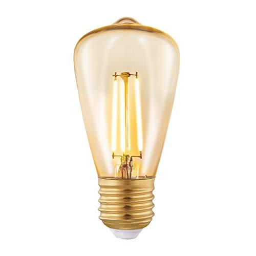 Eglo Lampe led E27, Ampoule à Incandescence, led Amber Vintage, Lampe pour Éclairage Rétro, 3,5 Watt (Correspond à 22 Watt), 220 Lumen, E27 led Blanc Chaud, 2200 Kelvin, Ampoule led