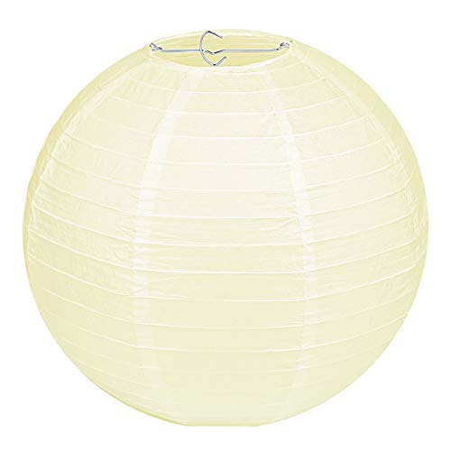 LIHAO Tulipa redonda de papel amarillo claro, diseño clásico de bambú, para decoración de fiestas, jardín, bodas (30 cm, 12 pulgadas)