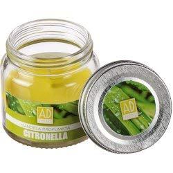 Regalo Italiano Vela de citronela perfumada en tarro de cristal, 6 cm