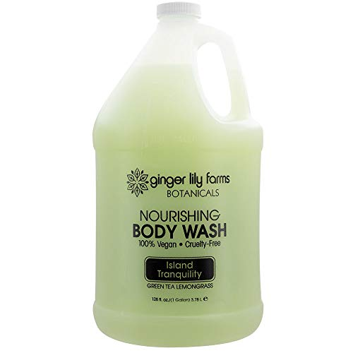 Ginger Lily Farms Botanicals Nourishing Body Wash, Island Tranquility, 100% Vegan & Cruelty-Free, Green Tea & Lemongrass Scent, 1 Gallon Refill
