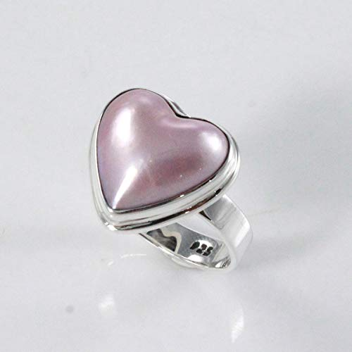 Heart pink mabe pearl ring, Bali handmade 925 sterling silver ring with enchanting 13 * 13 mm pink mabe, perfect pink mabe, heart ring, pink mabe pearl ring, size 6