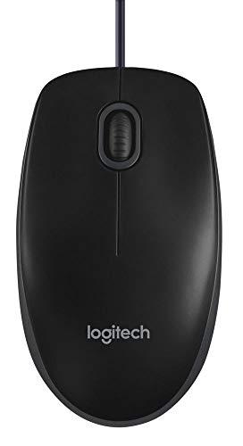Logitech B100 Maus mit Kabel, USB-Anschluss, 800 DPI Optischer Sensor, 3 Tasten, Für Links- und Rechtshänder, PC/Mac - schwarz