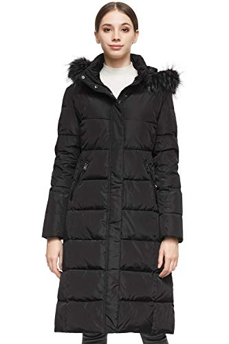 Orolay Women's Quilted Down Jacket Winter Long Coat Hooded Stand Collar Parka Black L