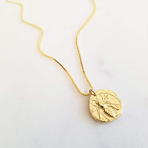 Gold Medallion Necklace, Coin Necklace, Disk Necklace, Bee Pendant Necklace, Gold Box Chain Necklace, Gold Pendant Necklace, NALA NECKLACE
