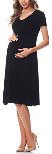 Be Mammy Vestido de Cóctel Premamá Embarazo Ropa Verano BE20-217 (Negro, S)