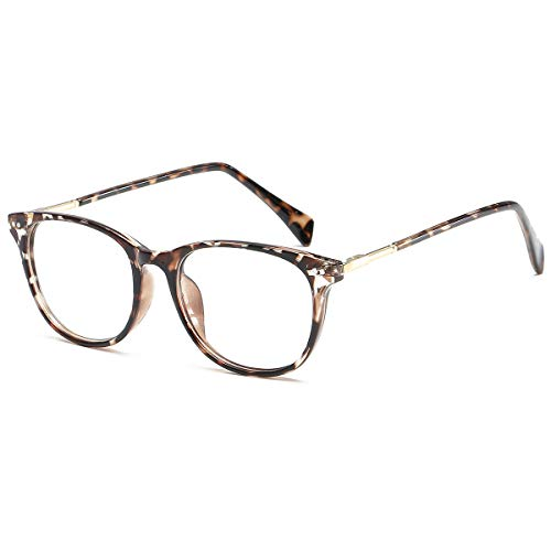 Twinkleyes Retro Nerdbrille Brillenfassung Hornbrille Runde Brille Ohne Stärke mit Brillenetui (Leopard)