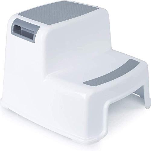 Tritthocker mit zwei Höhen für Kinder,stabiler Doppelstufenhocker für Kleinkinder,rutschfester Hocker für Kinder,für Töpfchentraining und Verwendung in der Küche und Bad,leicht zu reinigen und tragbar