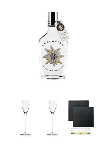 Edelweiss Marille Schnaps 0,2 Liter + Edelbrandglas Stölzle 1 Stück - Quadrophil 231/30 + Edelbrandglas Stölzle 1 Stück - Quadrophil 231/30 + Schiefer Glasuntersetzer eckig ca. 9,5 cm Ø 2 Stück