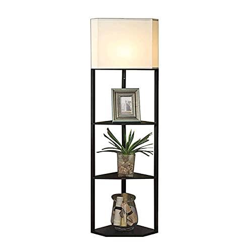 Lampade da Terra per Soggiorno Moderne Lampada da terra per scaffale a LED - luce moderna per soggiorni e camere da letto - struttura in legno asiatico con ripiani aperti Lampade da terra per camera d