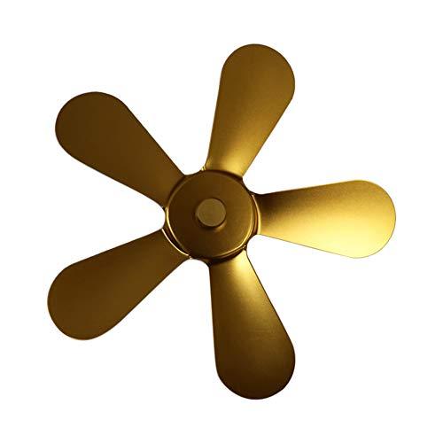 Amusingtao - Ventilador de chimenea de leña de 5 hojas, bajo ruido para invierno, 5 hojas, aire calentado, para estufa de gas, pellet/leña, estufas de leña con termómetro magnético