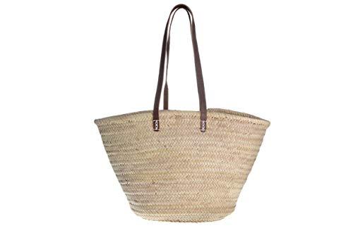 Afrikan Bags - Bolso Capazo de Palma | Bolso de Palma de Base Oval con Asa Bandolera en Cuero Marrón - 55 x 17 x 35 cm