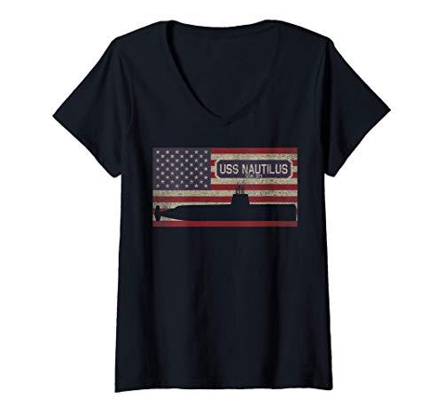 Damen USS Nautilus SSN-571 Erste amerikanische Atom-U-Boot-Flagge T-Shirt mit V-Ausschnitt