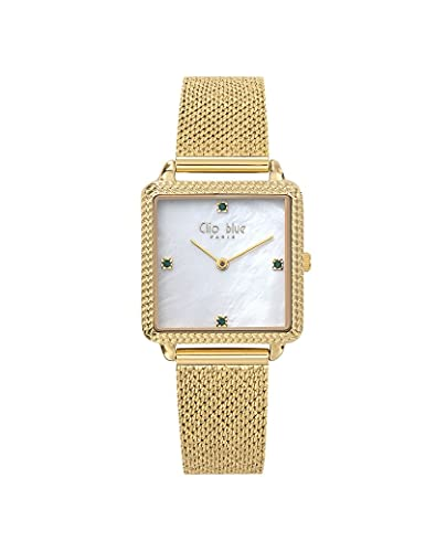 Reloj Clio Blue de malla Milanesa para mujer, color dorado