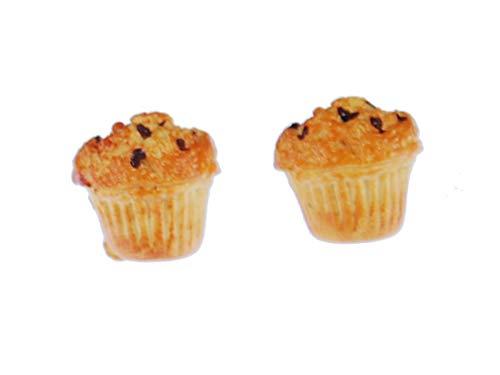 Muffin Earrings Ear Studs Earstuds Miniblings Tart Blueberry CuPCake Beige
