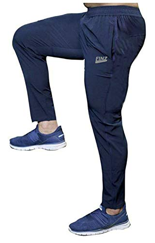 Finz Men's 100% Stretchable Lower for Gym-Workout | Yoga | Sports | Running Fabric with Zip Pockets Navy Blue
