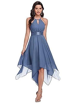 Ever-Pretty Women's Halter Short Chiffon Irregular Bridesmaid Dress Evening Dress Dusty Blue US4