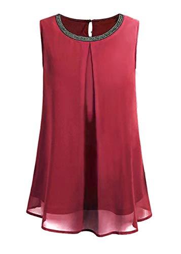 Keven Damska letnia elegancka bluzka szyfonowa, bez rękawów, okrągły dekolt, podwójna warstwa