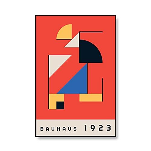 Cartel de la exposición de la Bauhaus cuadro geométrico del arte de la pared, decoración mural abstracta minimalista, pintura de la lona sin marco A1 30x40cm