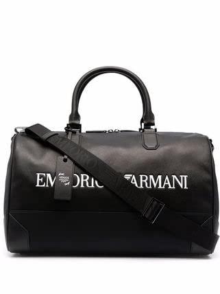 Emporio Armani Borsa nera unisex in nylon e pelle rigenerata saffiano