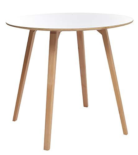 Meubletmoi Table de Repas scandinave Bois Bicolore Naturel/Blanc Ronde 90 cm - Robuste et qualité - Sweety