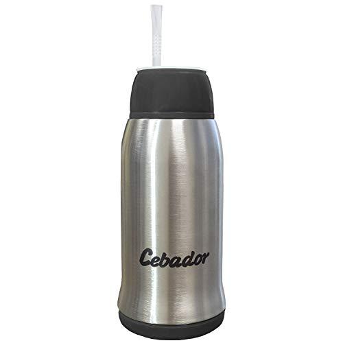 Cebador Yerbomos 3.0 Flasche, Thermoskanne & Bombilla | Yerba Mate Tee Kürbis 500 ml | Verbessertes Modell | Doppelwandiger Edelstahl | Ergonomische Konstruktion (Schwarz)
