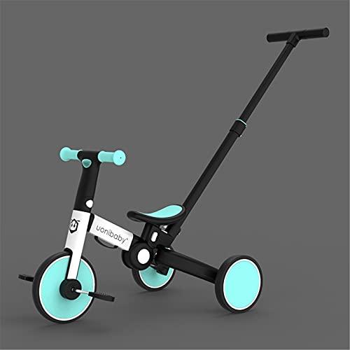 JHHXW Bicicletas de Equilibrio para niños, Asiento Ajustable Bicicleta Plegable 3-en -1 Bicicleta corredera Triciclo de 3 Ruedas, para 1-5 años, niñas, niñas, niñas, Juguetes, Regalo de cumpleaños