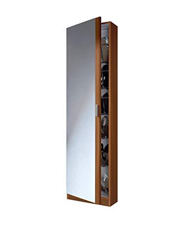 Wood & Colors Habitdesign 007866C Schuhschrank mit Spiegel, Kastanienbraun, Maße: 180 x 50 x 20 cm
