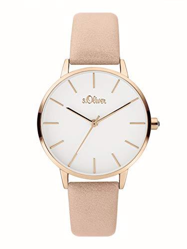 s.Oliver Damen Analog Quarz Uhr mit Leder Armband SO-3823-LQ