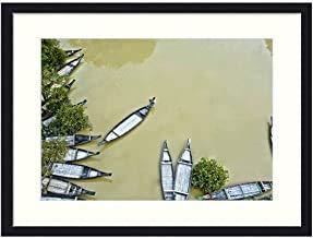 No Marca Panoramic Outdoor Architecture Boats Water Relax Cuadro Enmarcado Moderno para Pared para Sala de Estar, Dormitorio, Oficina, decoración de Pared para Regalos