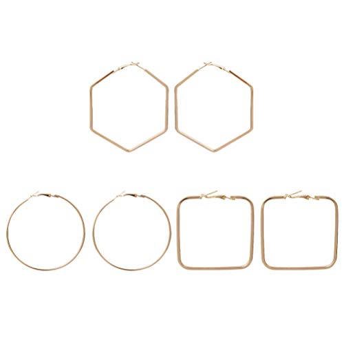 Holibanna Pendientes de Aro de 3 Pares Geometría Ronda Hexágono Cuadrado Joyería Decorativa Espárrago para Mujer de Negocios (Dorado)