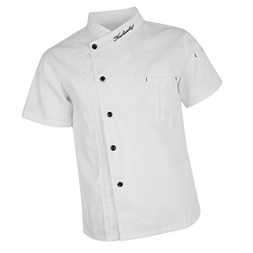 Baoblaze Chaqueta de Chef Unisex Capa Camisa Mangas Cortas Cocina Ejecutivo Camarero Mangas Corta Atavío Camiseta de Cocinero - Blanco, L