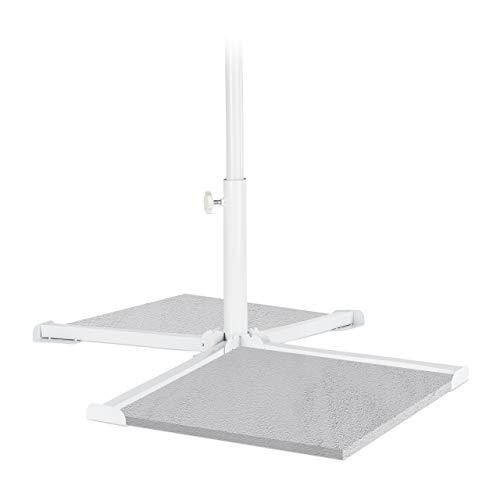 Relaxdays Platten Sonnenschirmständer, Schirmstangen 20-38mm, Kreuzfuß klappbar, Einrastfunktion, stabil, handlich, weiß