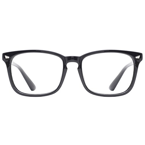 TIJN Blue Light Blocking Glasses Square Nerd Eyeglasses Frame Anti Blue Ray Computer Game Glasses (Black)